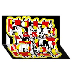 Red and yellow chaos Merry Xmas 3D Greeting Card (8x4)