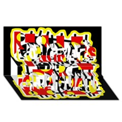 Red and yellow chaos Congrats Graduate 3D Greeting Card (8x4)