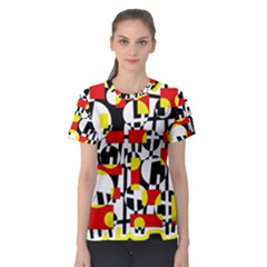Red and yellow chaos Women s Sport Mesh Tee