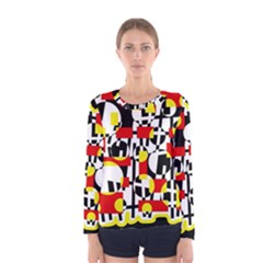 Red and yellow chaos Women s Long Sleeve Tee