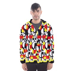 Red and yellow chaos Hooded Wind Breaker (Men)
