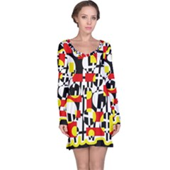 Red and yellow chaos Long Sleeve Nightdress