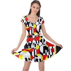Red and yellow chaos Cap Sleeve Dresses