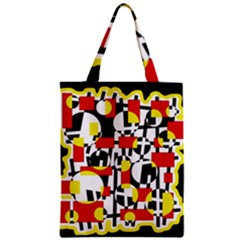 Red and yellow chaos Zipper Classic Tote Bag