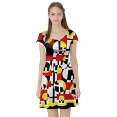 Red and yellow chaos Short Sleeve Skater Dress