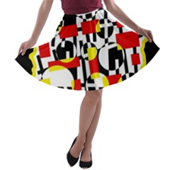 Red and yellow chaos A-line Skater Skirt