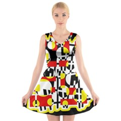 Red and yellow chaos V-Neck Sleeveless Skater Dress
