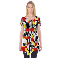 Red And Yellow Chaos Short Sleeve Tunic