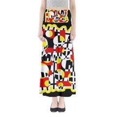 Red And Yellow Chaos Maxi Skirts