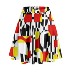 Red and yellow chaos High Waist Skirt