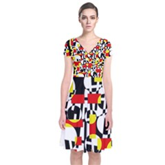 Red and yellow chaos Short Sleeve Front Wrap Dress