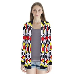 Red and yellow chaos Drape Collar Cardigan