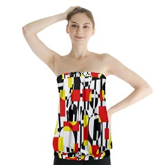Red And Yellow Chaos Strapless Top