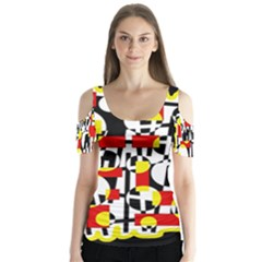 Red and yellow chaos Butterfly Sleeve Cutout Tee