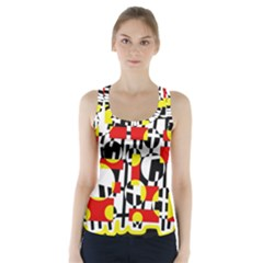 Red and yellow chaos Racer Back Sports Top