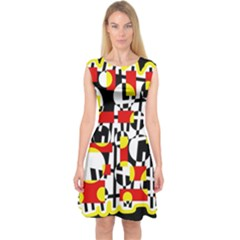 Red and yellow chaos Capsleeve Midi Dress