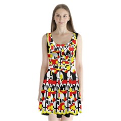 Red and yellow chaos Split Back Mini Dress