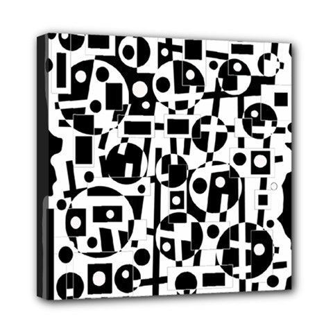 Black and white abstract chaos Mini Canvas 8  x 8