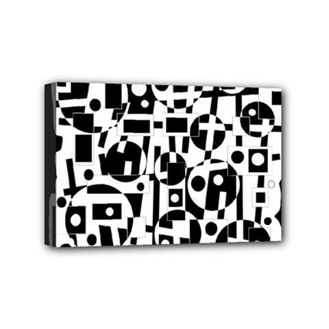 Black and white abstract chaos Mini Canvas 6  x 4
