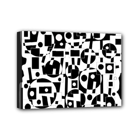 Black and white abstract chaos Mini Canvas 7  x 5