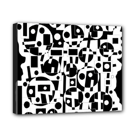 Black and white abstract chaos Canvas 10  x 8
