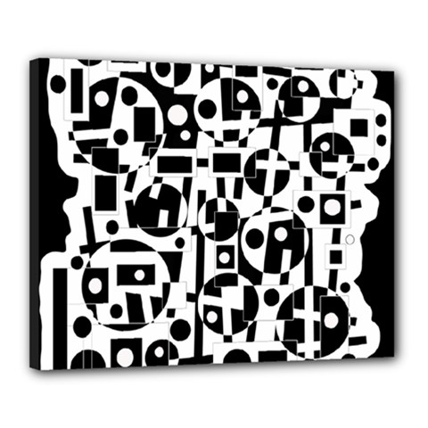 Black and white abstract chaos Canvas 20  x 16