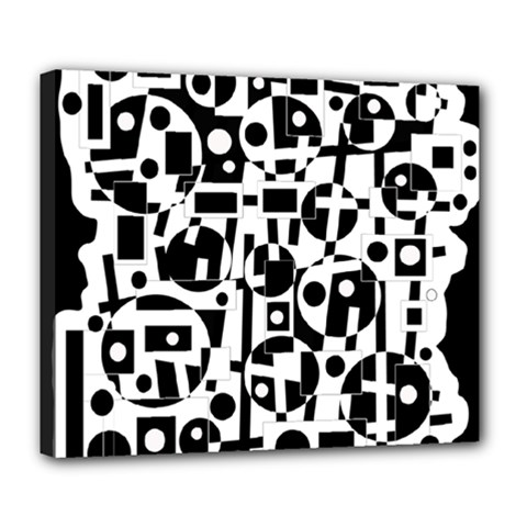 Black and white abstract chaos Deluxe Canvas 24  x 20