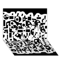 Black And White Abstract Chaos I Love You 3d Greeting Card (7x5)