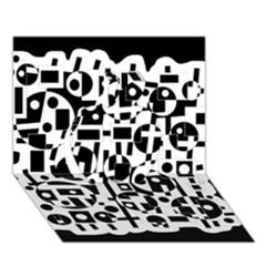 Black and white abstract chaos Apple 3D Greeting Card (7x5)