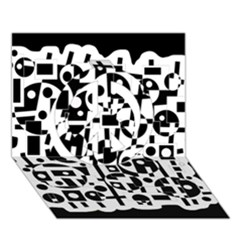 Black and white abstract chaos Peace Sign 3D Greeting Card (7x5)