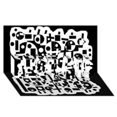Black and white abstract chaos BEST SIS 3D Greeting Card (8x4)
