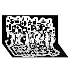 Black and white abstract chaos #1 DAD 3D Greeting Card (8x4)