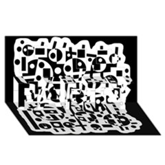Black and white abstract chaos PARTY 3D Greeting Card (8x4)