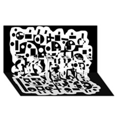 Black and white abstract chaos SORRY 3D Greeting Card (8x4)