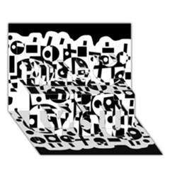 Black and white abstract chaos Miss You 3D Greeting Card (7x5)