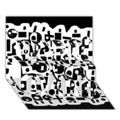 Black and white abstract chaos WORK HARD 3D Greeting Card (7x5)