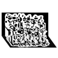 Black and white abstract chaos Happy New Year 3D Greeting Card (8x4)