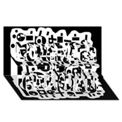 Black and white abstract chaos Congrats Graduate 3D Greeting Card (8x4)