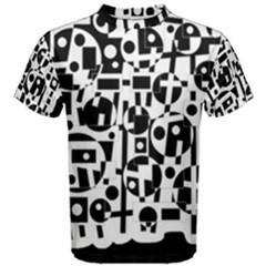 Black and white abstract chaos Men s Cotton Tee