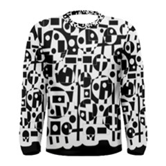 Black and white abstract chaos Men s Long Sleeve Tee