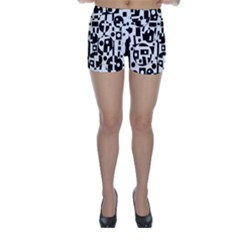 Black and white abstract chaos Skinny Shorts