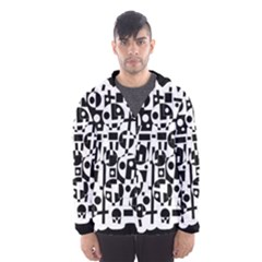 Black and white abstract chaos Hooded Wind Breaker (Men)