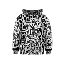 Black and white abstract chaos Kids  Pullover Hoodie