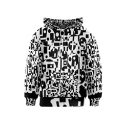 Black and white abstract chaos Kids  Zipper Hoodie