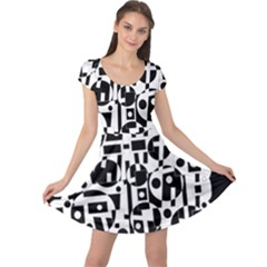 Black and white abstract chaos Cap Sleeve Dresses