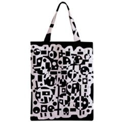 Black and white abstract chaos Zipper Classic Tote Bag