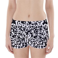 Black and white abstract chaos Boyleg Bikini Wrap Bottoms