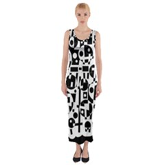 Black And White Abstract Chaos Fitted Maxi Dress