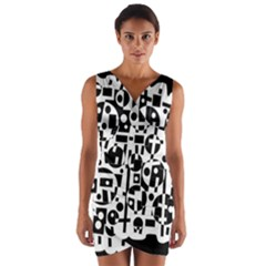 Black and white abstract chaos Wrap Front Bodycon Dress