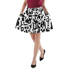 Black and white abstract chaos A-Line Pocket Skirt